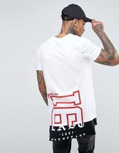 Супердлинная футболка с принтом и контрастной вставкой на кромке ASOS - Белый