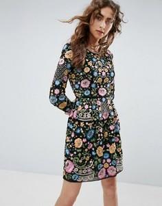 Платье мини для выпускного с вышивкой Needle and Thread - Черный