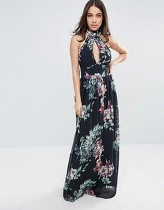Платье макси с лямкой через шею и принтом City Goddess - Черный