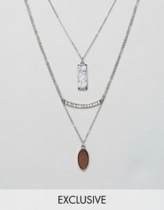 3 ожерелья с подвесками DesignB - Серебряный