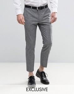 Строгие укороченные твидовые брюки скинни Heart & Dagger - Серый