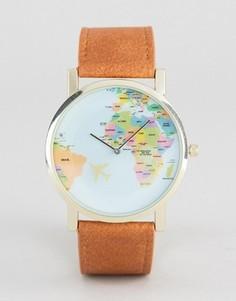Часы со светло-коричневым ремешком и принтом географической карты ASOS - Бежевый