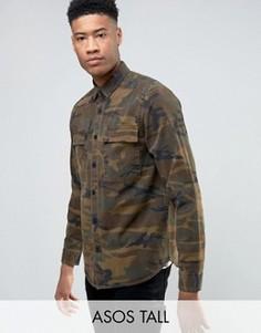 Коричневая рубашка навыпуск с камуфляжным принтом ASOS TALL - Коричневый