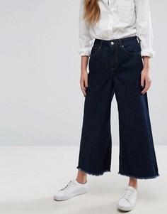 Джинсы с широкими укороченными штанинами и необработанными нижними краями Only - Синий