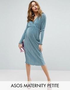 Плиссированное платье-футляр с запахом ASOS Maternity PETITE - Синий