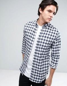Узкая рубашка в клеточку с воротником на пуговицах Jack & Jones Originals - Белый