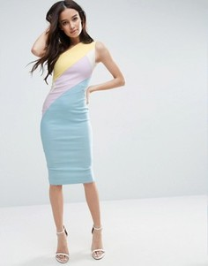 Платье колор блок на одно плечо Vesper - Мульти