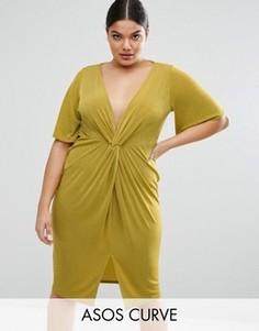 Платье-кимоно с узелком спереди ASOS CURVE - Желтый