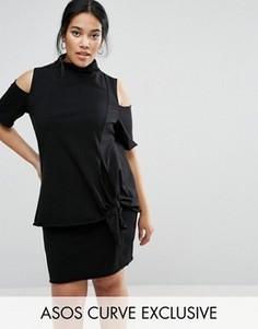 Цельнокройное платье с высокой горловиной и узлом спереди ASOS CURVE - Черный