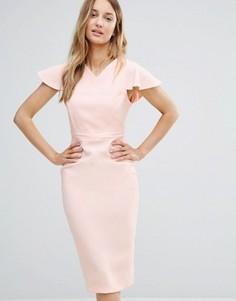 Платье-футляр миди со структурированными плечами Vesper - Розовый