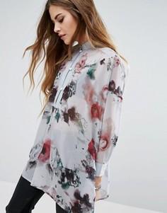 Прозрачная рубашка без воротника с цветочным принтом Religion - Серый