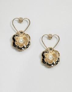 Серьги ограниченной серии с контурным сердцем и цветком - Золотой Asos