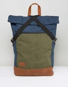 Рюкзак в стиле колор блок с закатанным верхом ASOS - Синий