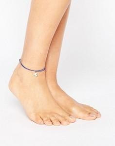 Ножной браслет-шнурок ограниченной серии с подвеской Happy - Синий Asos