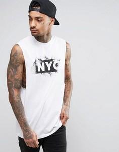 Длинная футболка без рукавов с принтом NYC ASOS - Белый