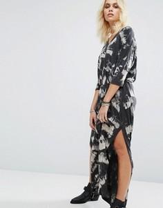 Платье-туника макси с принтом и разрезами по бокам Religion - Серый