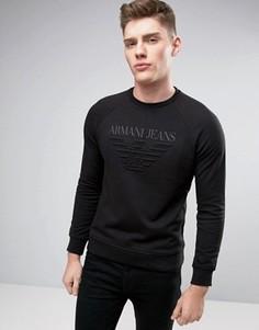 Черный классический свитшот с круглым вырезом и тисненым логотипом Armani Jeans - Черный