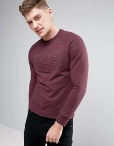 Бордовый классический свитшот с круглым вырезом и тисненым логотипом Armani Jeans - Красный