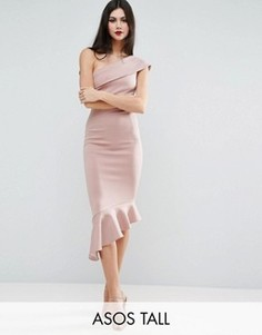 Платье миди на одно плечо с баской ASOS TALL - Розовый