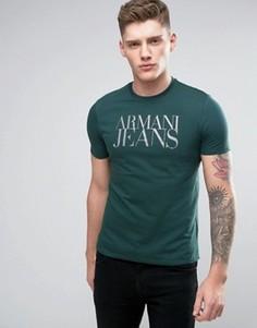 Зеленая футболка классического кроя с логотипом Armani Jeans - Зеленый