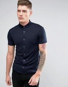 Темно-синяя эластичная трикотажная рубашка слим с короткими рукавами Armani Jeans - Темно-синий