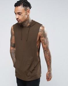 Длинная футболка без рукавов с капюшоном и углубленной проймой ASOS - Коричневый
