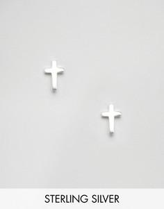 Серебряные серьги-гвоздики в виде крестиков Regal Rose Fallen Saint - Серебряный