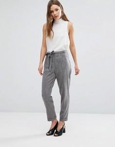 Укороченные брюки с поясом на талии New Look - Серый