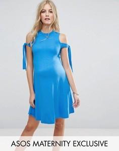 Свободное платье с завязками на плечах ASOS Maternity - Синий