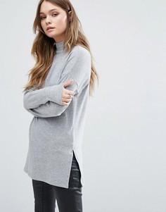 Туника в рубчик с высоким воротом New Look - Серый