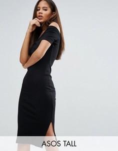 Облегающее платье с открытыми плечами и горловиной в рубчик ASOS TALL - Черный