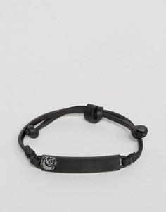 Черный кожаный браслет Diesel A-Sunrise Up - Черный