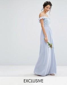 Платье макси с открытыми плечами и пайетками Maya - Синий