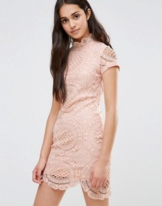 Кружевное платье-футляр с короткими рукавами Girl In Mind - Розовый
