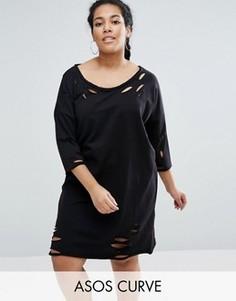 Трикотажное платье с открытыми плечами и рваной отделкой ASOS CURVE - Черный