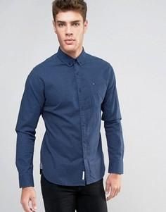 Темно-синяя рубашка классического кроя с принтом Hilfiger Denim - Темно-синий