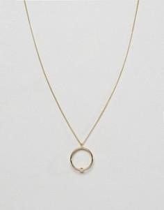 Длинное ожерелье с двумя кольцами Pieces Amina - Золотой