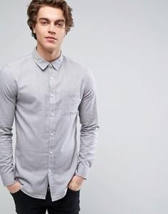 Светло-серая саржевая рубашка с начесом классического кроя New Look - Серый