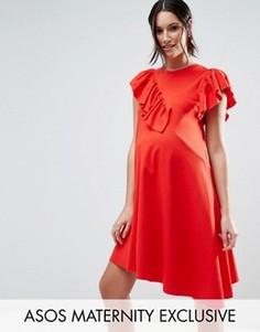 Платье-футболка с оборками ASOS Maternity - Красный