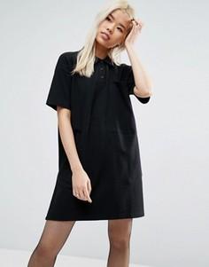 Цельнокройное короткое платье-поло из ткани пике ASOS - Черный