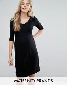 Короткое приталенное платье со складками спереди Isabella Oliver - Черный