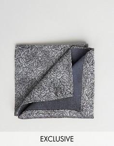 Жаккардовый платок для нагрудного кармана с цветочным принтом Noose & Monkey - Серый