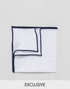 Платок для нагрудного кармана с добавлением льна и контрастной отделкой Noak - Белый