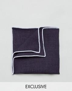 Платок для нагрудного кармана с добавлением льна и контрастной отделкой Noak - Темно-синий