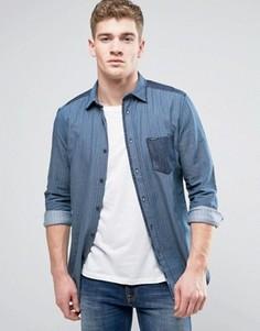 Рубашка с длинными рукавами и карманом Diesel D-JERRY - Синий