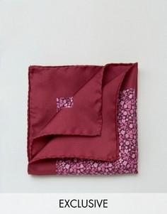 Шелковый платок для нагрудного кармана с цветочным принтом Heart & Dagger - Розовый