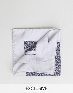 Шелковый платок для нагрудного кармана с цветочным принтом Heart & Dagger - Черный