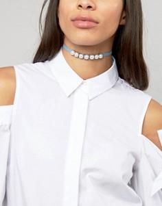 Джинсовое ожерелье-чокер с жемчугом Glamorous - Серебряный