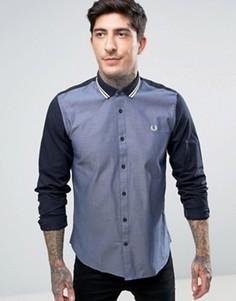 Темно-синяя оксфордская рубашка с контрастными рукавами Fred Perry - Темно-синий