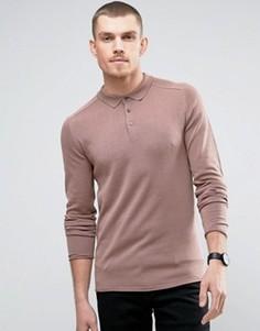 Трикотажное поло с длинным рукавом Selected Homme - Розовый
